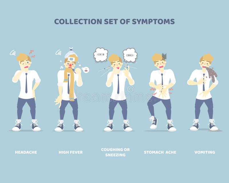 Coleção de sintomas com o homem tais como espirros, tosse, vômitos, febre elevada, dor de estômago, cefaleias, cuidados de saúde ilustração stock