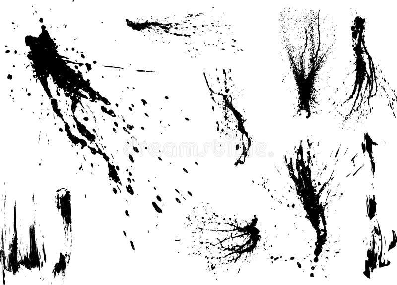 Coleção de splatters da pintura do vetor ilustração stock