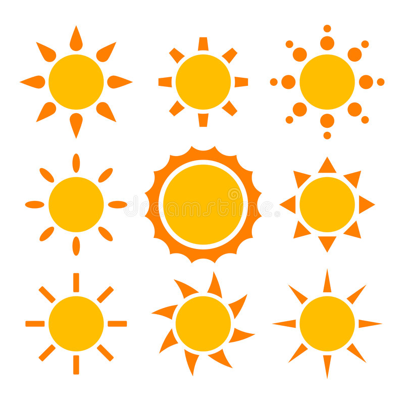 Coleção de Sun ilustração royalty free