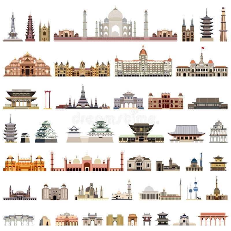 Coleção de templos do vetor, torres, catedrais, pagodes, mausoléus construções antigas e o outro monumento arquitetónico ilustração do vetor