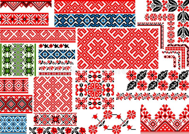 Coleção de 30 testes padrões étnicos sem emenda para o ponto do bordado ilustração do vetor