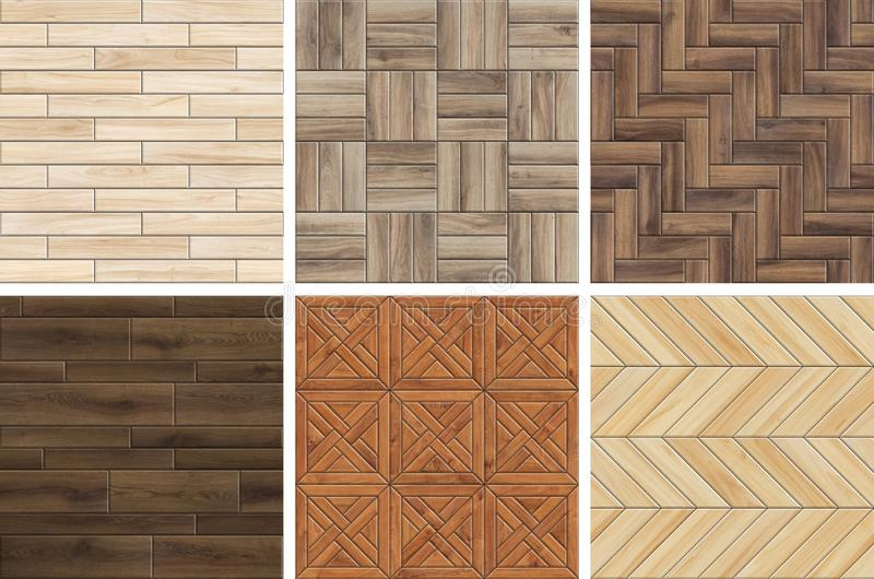 Coleção de testes padrões de madeira de alta resolução do parquet Texturas sem emenda da madeira diferente imagens de stock royalty free