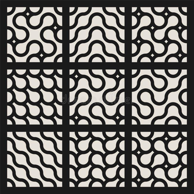 Coleção de testes padrões ondulados geométricos sem emenda listrados Projeto creativo Texturas encaracolados à moda Fundos infini ilustração royalty free