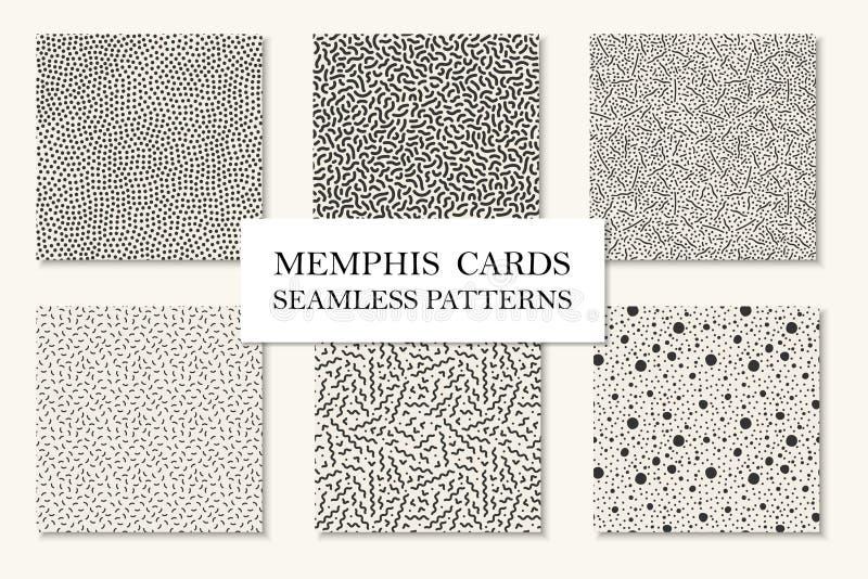 Coleção de testes padrões sem emenda de memphis, cartões Texturas de mosaico curvadas, pontilhadas Estilo retro 80 da forma - 90s ilustração do vetor
