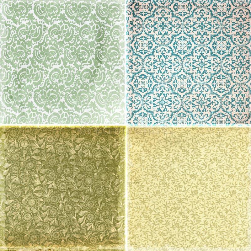 Coleção de texturas do teste padrão do papel de parede do vintage ilustração stock