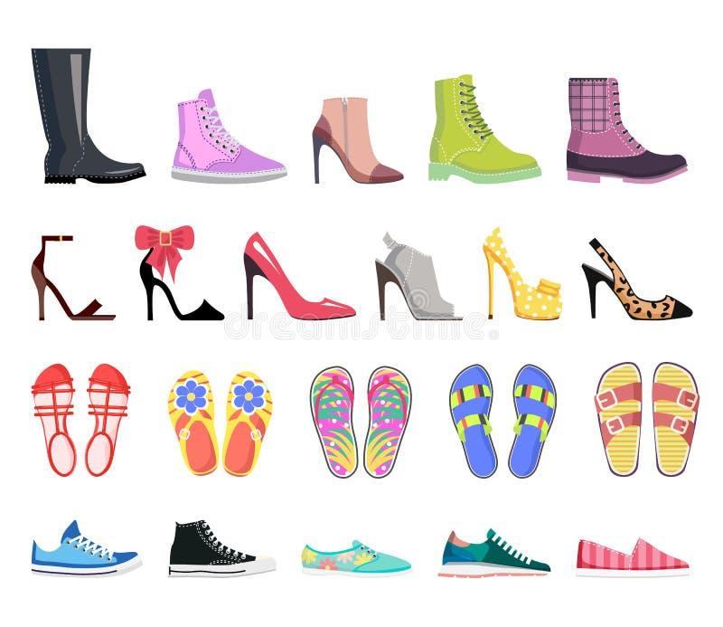 Coleção de tipos das sapatas Calçados fêmeas modernos ilustração royalty free