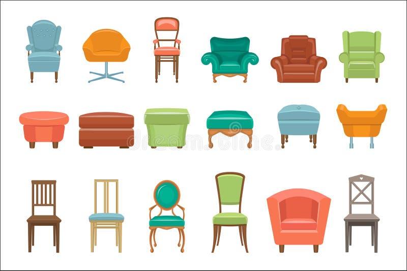 Cole??o de tipos diferentes assentamento Poltronas, cadeiras, pufes Mob?lia confort?vel Elementos para a casa moderna ilustração royalty free