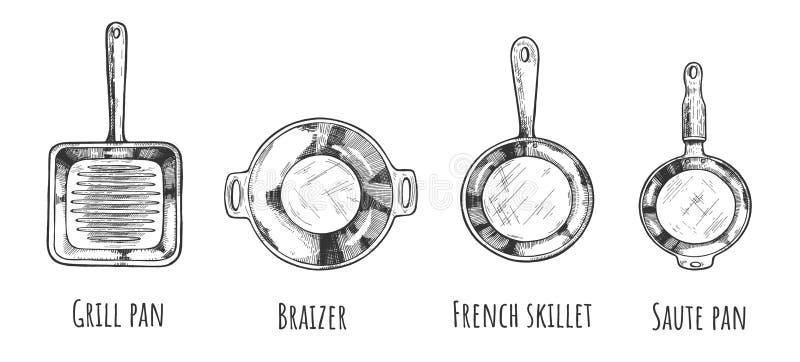 Coleção de tipos diferentes da frigideira ilustração royalty free