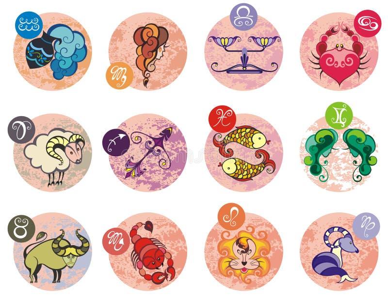 Coleção de todos os sinais do zodíaco Ilustração do vetor de sinais do zodíaco ilustração royalty free