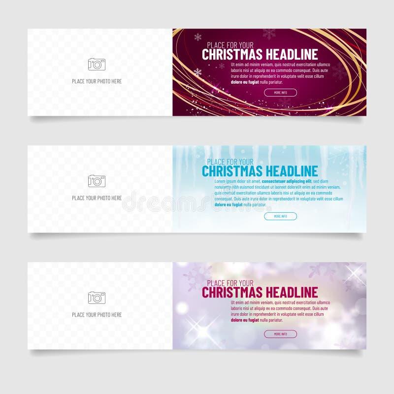 Coleção de três bandeiras da Web com o backgrou abstrato do Natal ilustração do vetor