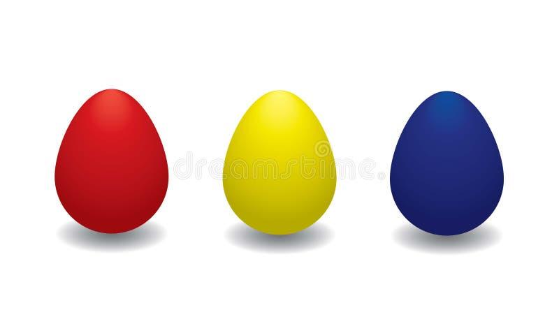 A coleção de três coloriu ovos da páscoa em um fundo branco ilustração royalty free