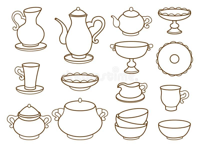 Coleção de utensílios de mesa da porcelana para o chá ilustração do vetor
