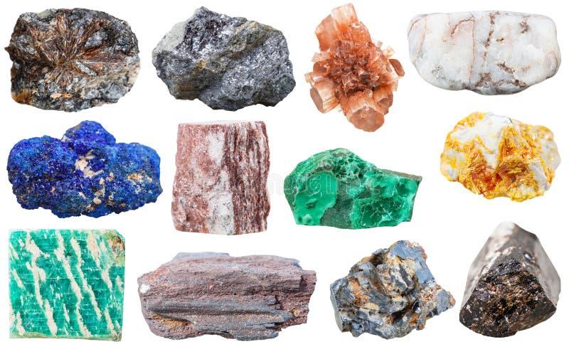 Coleção de várias rochas e pedras minerais imagens de stock royalty free