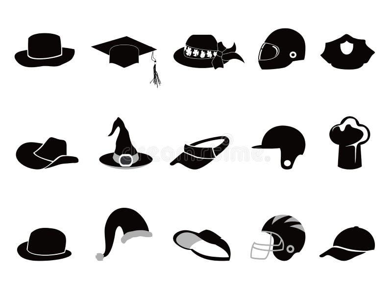 Coleção de várias silhuetas do chapéu negro ilustração royalty free