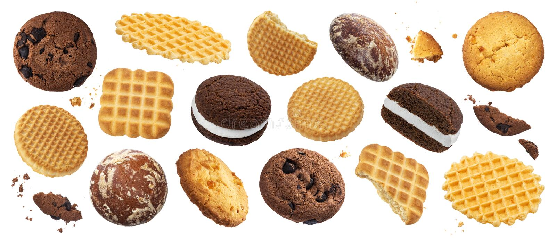 Coleção de vários bolos, cookies, biscoitos, waffles isolados no fundo branco imagens de stock royalty free