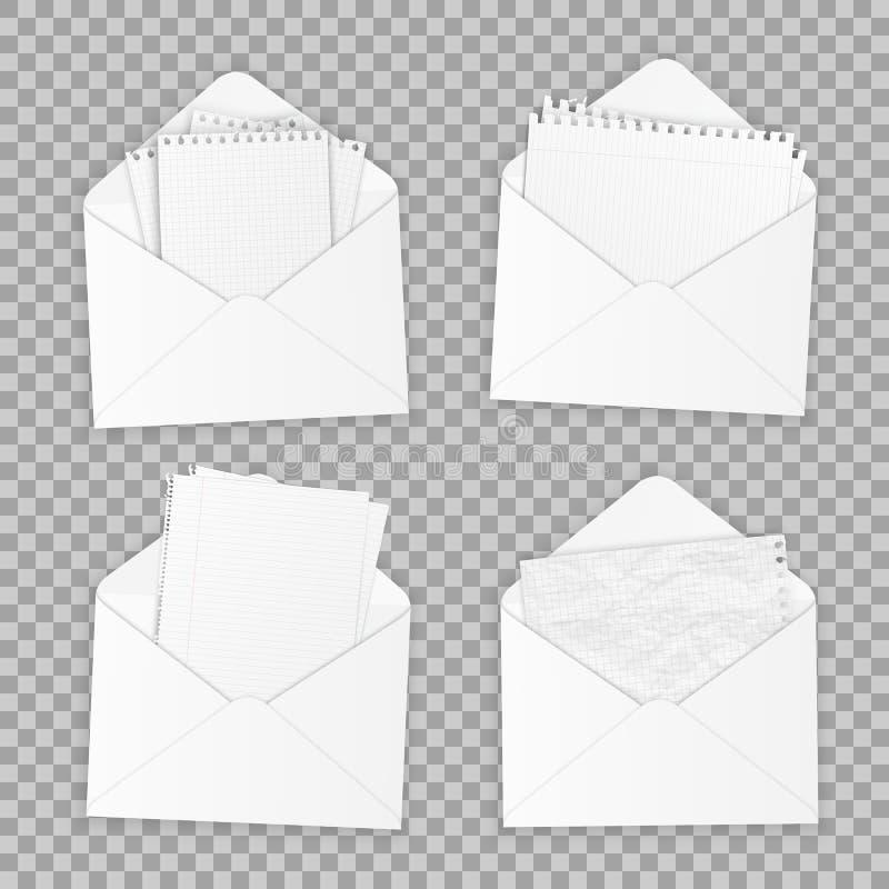 Coleção de vários Livros Brancos realísticos Papel de tipos diferentes, molde do escritório do projeto Vetor ilustração stock