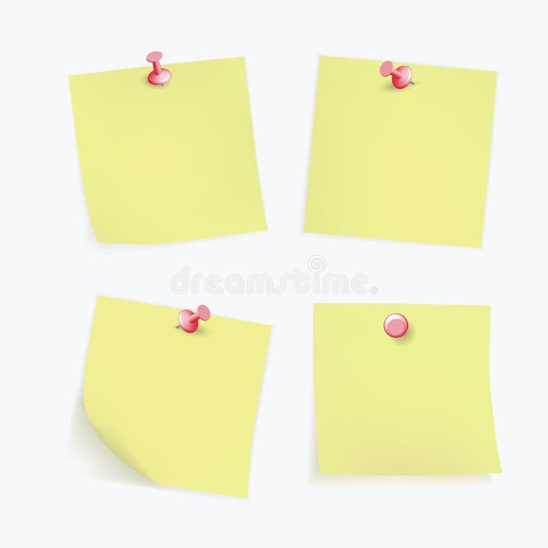 A coleção de vários papéis de nota amarelos com canto ondulado, tecla vermelha fixada, apronta-se para sua mensagem Vetor ilustração stock