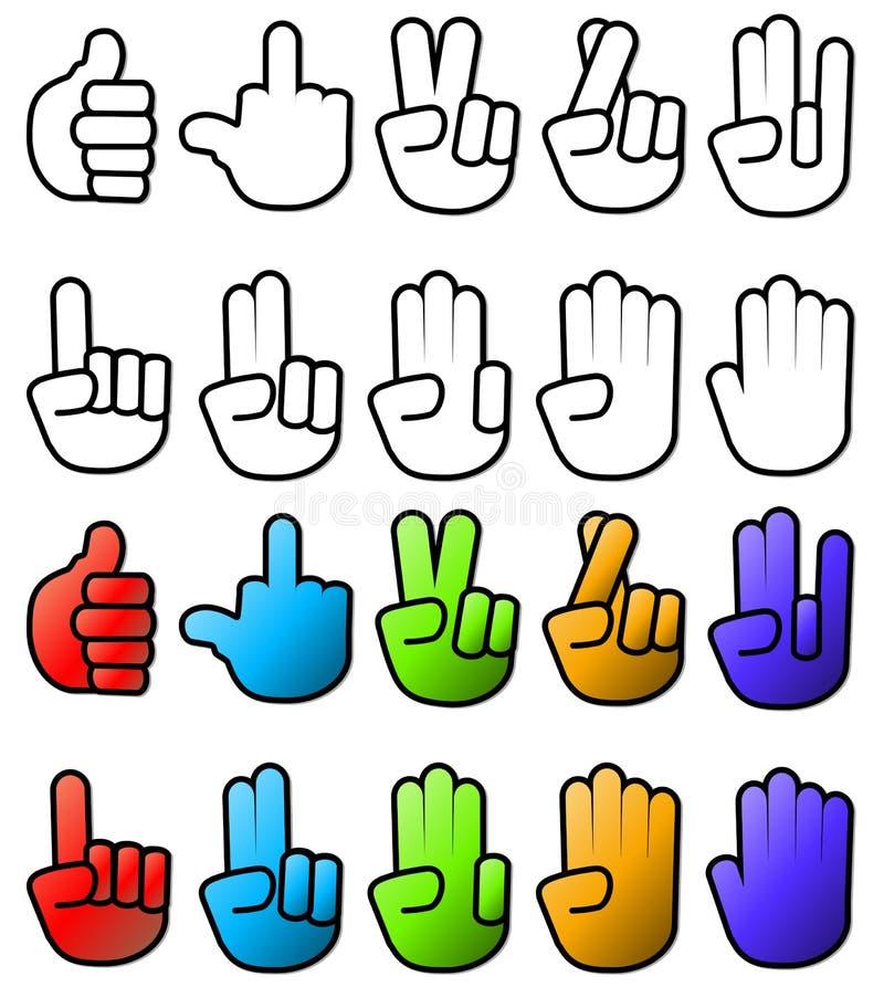 Coleção de vários sinais e sinais da mão ilustração royalty free