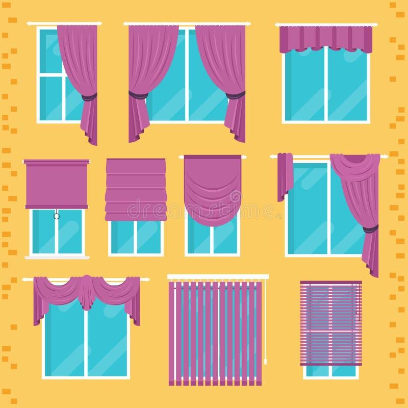 Coleção de vários tratamentos de janela: cortinas, cortina, sável ilustração royalty free
