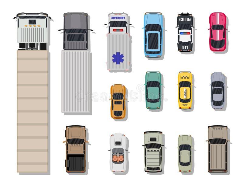 Coleção de vários veículos Vista superior ilustração royalty free