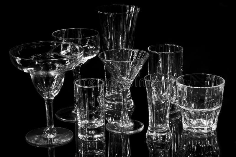 Coleção de vários vidros da barra imagens de stock royalty free