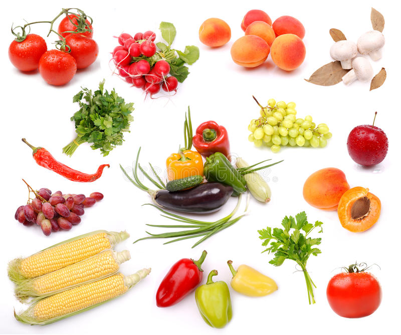 Coleção de vegetais de frutas maduros fotografia de stock