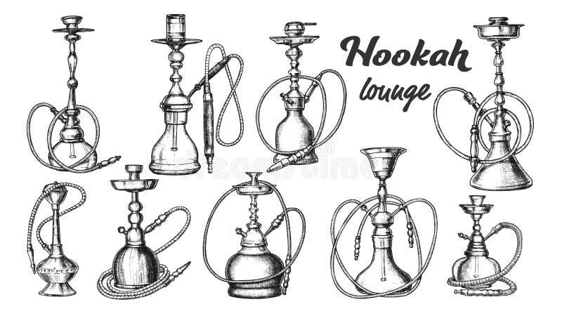 Coleção de Vetor de Tinta de Conjunto de Hookah Diferente ilustração do vetor