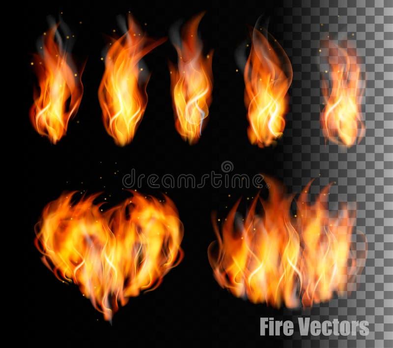 Coleção de vetores do fogo - as chamas e um coração dão forma ilustração royalty free