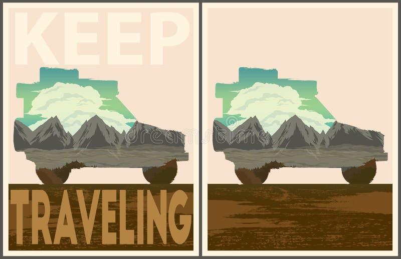 Coleção de viagem do cartaz Keep ilustração royalty free