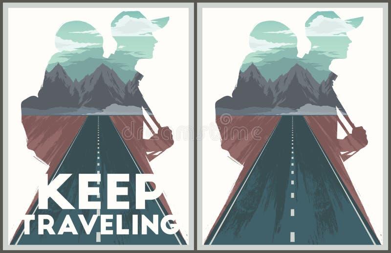 Coleção de viagem do cartaz Keep ilustração stock