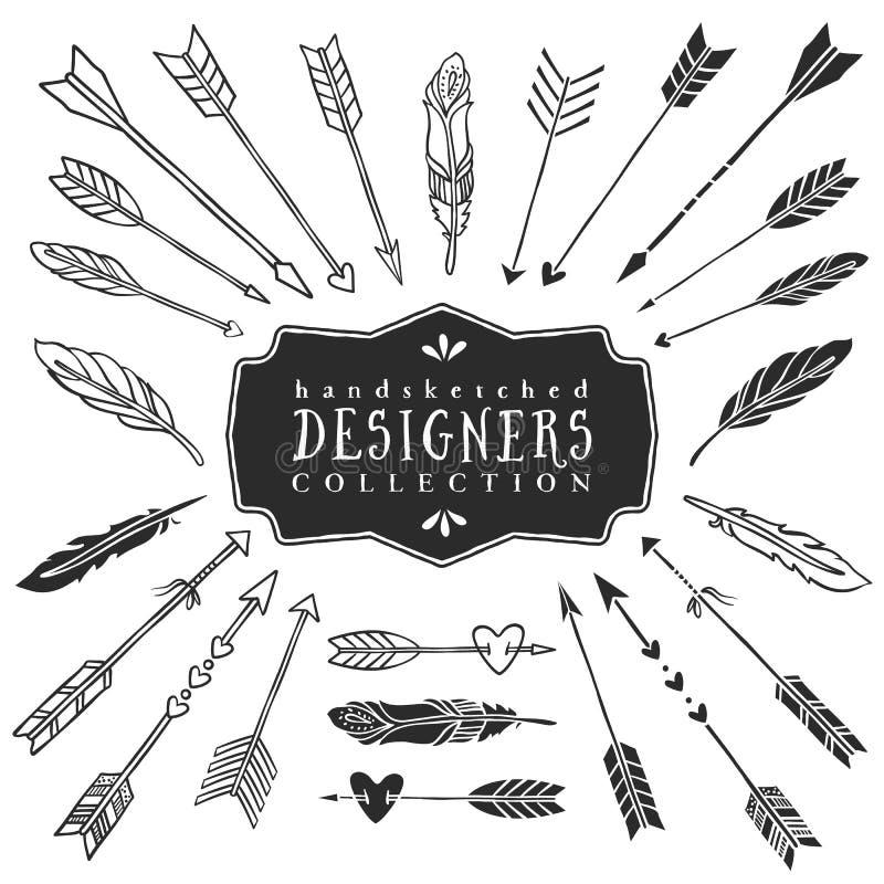 Coleção decorativa das setas e das penas do vintage Mão desenhada ilustração stock