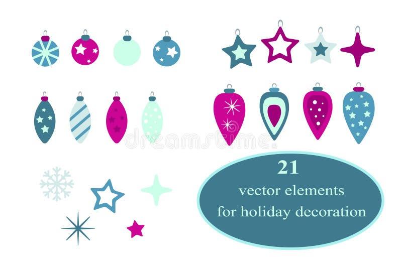 Coleção decorativa dos elementos do Natal Grupo de 21 elementos As etiquetas lisas do feriado do vetor projetam no rosa e em core ilustração royalty free