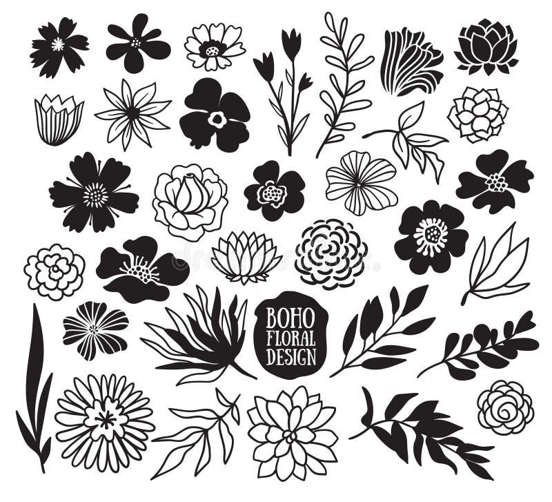 Coleção decorativa preta das plantas e das flores de Boho ilustração stock