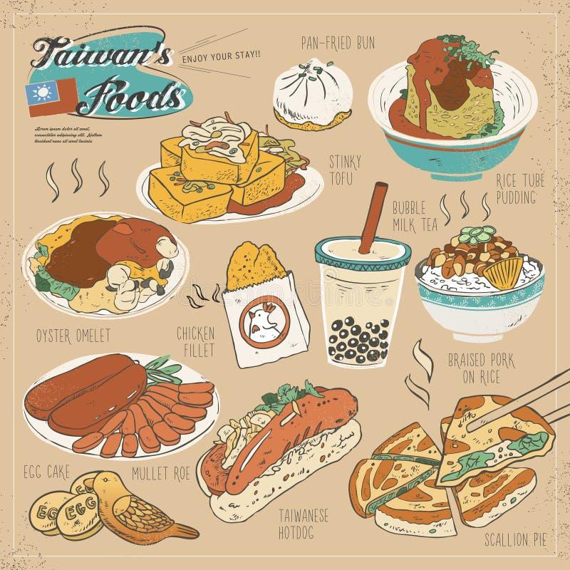 Coleção deliciosa dos petiscos de Taiwan ilustração royalty free