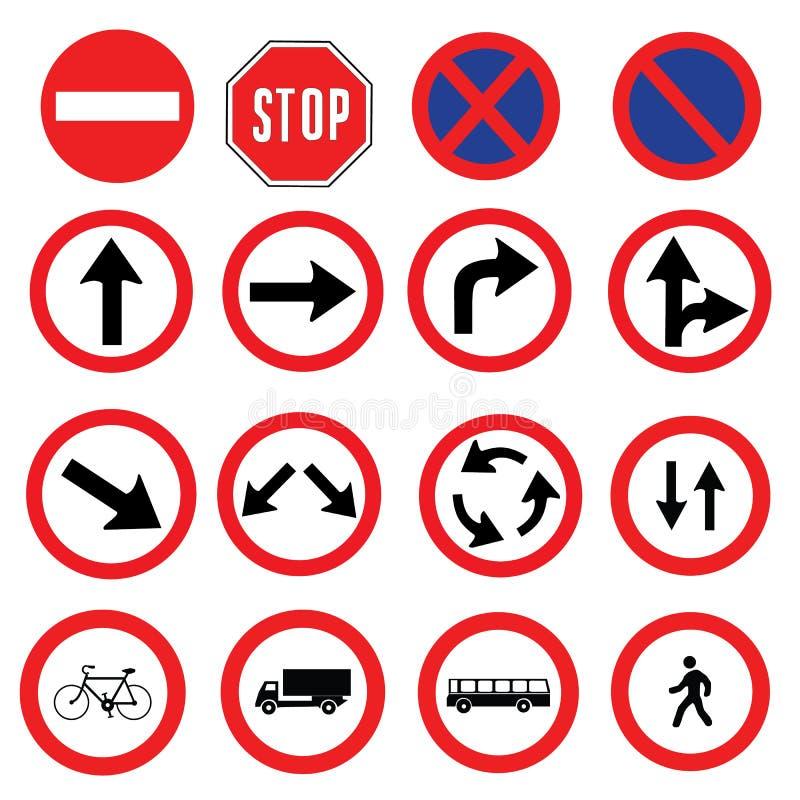 Coleção diferente da altamente detalhada e inteiramente Tráfego-estrada do sinal pronto para uso ilustração do vetor