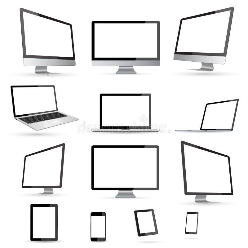 Coleção digital moderna do dispositivo da tecnologia ilustração royalty free