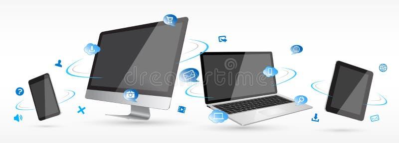 Coleção digital moderna do dispositivo da tecnologia ilustração stock