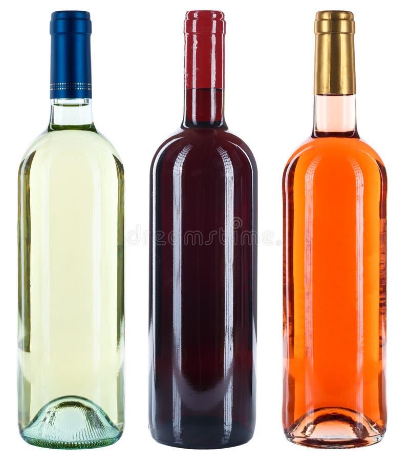 Coleção do álcool da rosa do branco do vermelho de vinhos das garrafas de vinho isolado imagem de stock royalty free