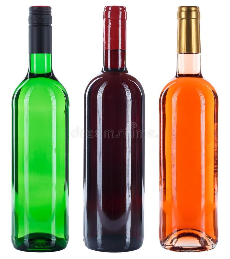 Coleção do álcool vermelho da rosa do branco das garrafas de vinho isolado no wh fotografia de stock