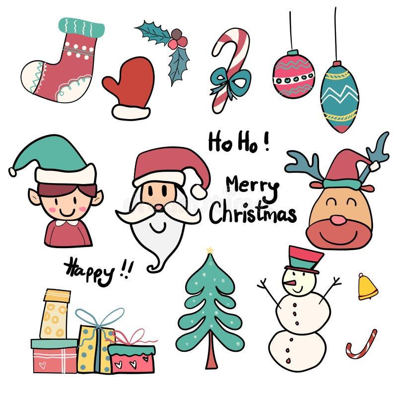 Coleção do ícone bonito do Natal da garatuja ilustração do vetor