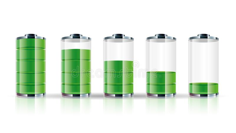 Coleção do ícone da bateria, exposição da energia da bateria ilustração do vetor