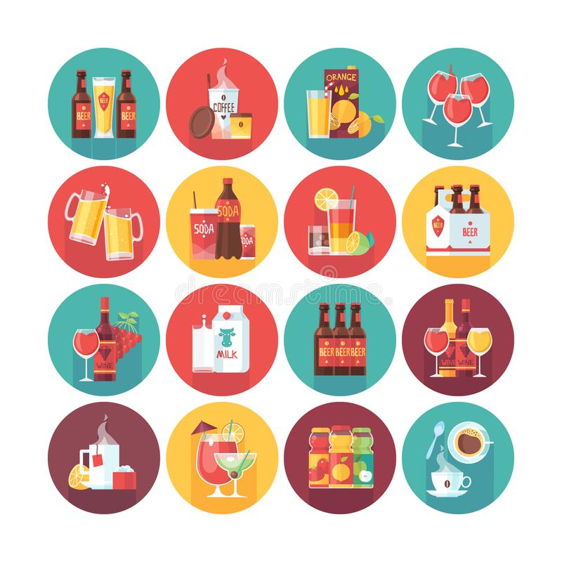 Coleção do ícone da bebida e da bebida Os ícones lisos do círculo do vetor ajustaram-se com sombra longa Alimento e bebidas ilustração royalty free