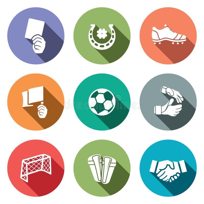 Coleção do ícone da cor do futebol ilustração royalty free