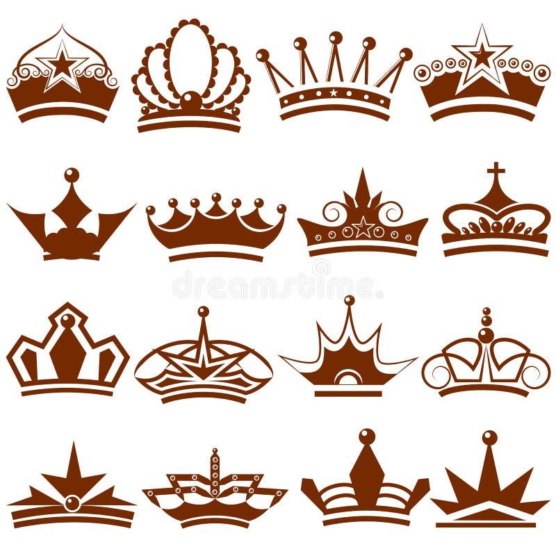 Coleção do ícone da coroa ilustração royalty free