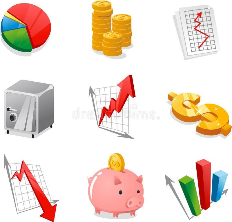 Coleção do ícone da economia ilustração stock