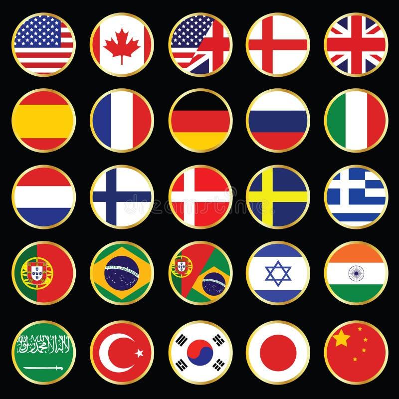 Coleção do ícone da língua do Web ilustração stock