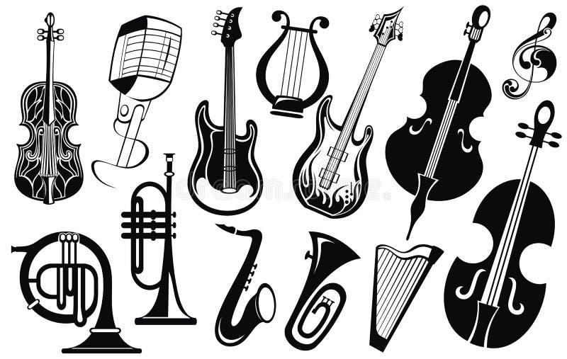 Coleção do ícone da música O chifre da música ajustou 3 ilustração royalty free