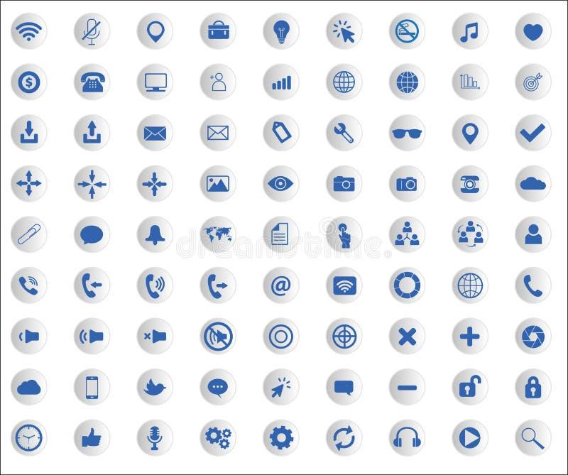 Coleção do ícone da Web com sinais lisos da site ilustração do vetor