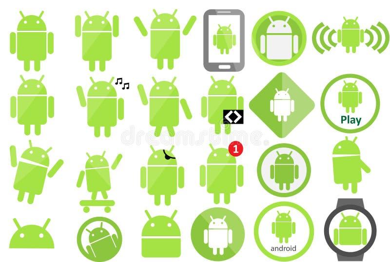 Coleção do ícone de Android ilustração stock