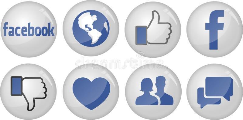 Coleção do ícone de Facebook ilustração stock